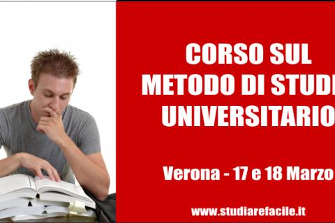 Corso sul metodo di studio universitario a Verona – 17-18 Marzo