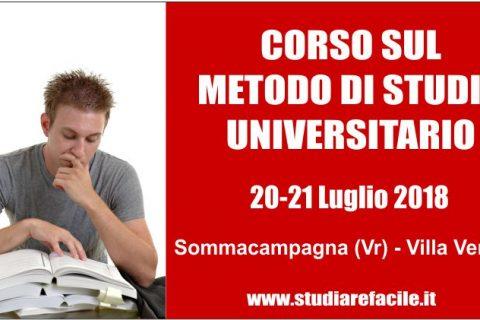 Corso sul metodo di studio universitario a Sommacampagna (Vr) – 20-21 Luglio