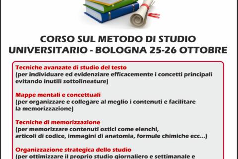 Corso sul Metodo di Studio universitario a Bologna – 25 e 26 Ottobre 2019