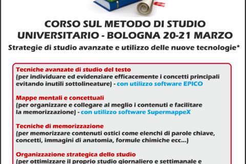 locandina corso sul metodo di studio universitario a Bologna 20 e 21 marzo