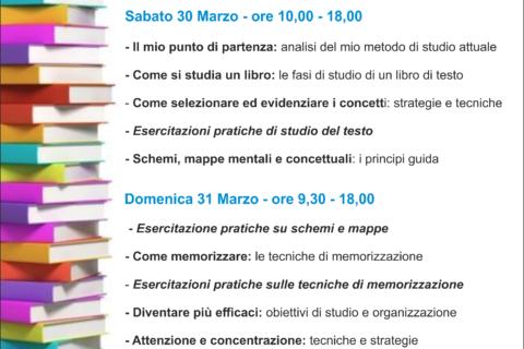 locandina corso metodo di studio universitario Verona
